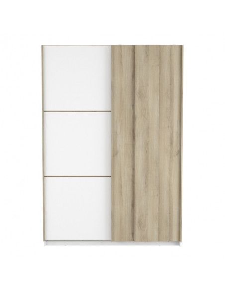 Armoire 2 Portes Coulissantes Heva Imitation Chene Et Blanc