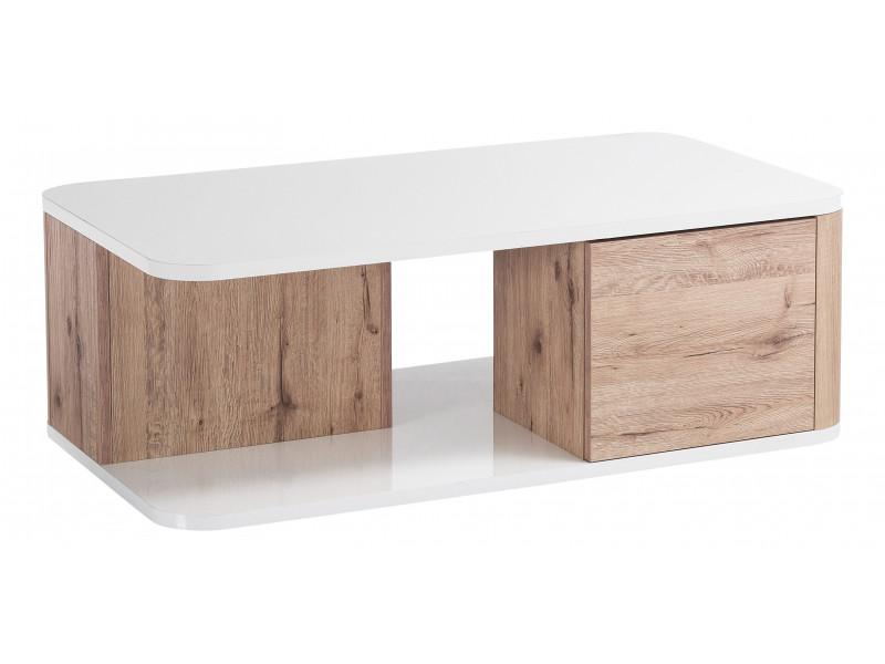 Table basse BELLINI décor chêne/blanc